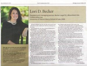 michigan lawyers weekly features lori d. becker